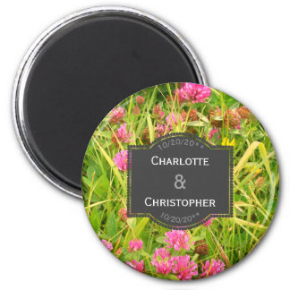 Red Clover And Buttercup Personalized Wedding Magnet