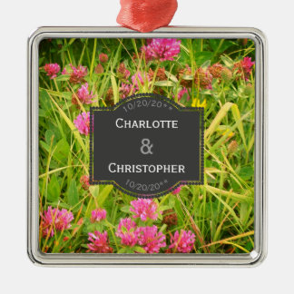 Red Clover And Buttercup Personalized Wedding Metal Ornament