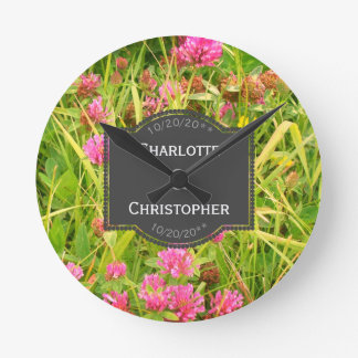 Red Clover And Buttercup Personalized Wedding Round Clock