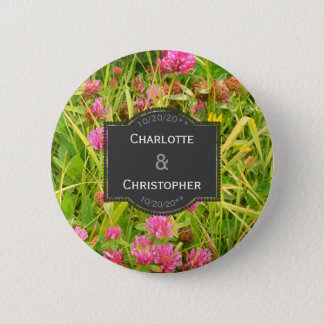 Red Clover And Buttercup Wedding favour button