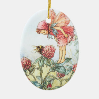 Red Clover Fairy Ceramic Ornament
