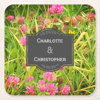 Red Clover Wildflower Square Paper Coaster