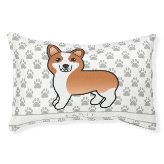 Red Coat Color Welsh Corgi Pembroke Dog & Name Pet Bed