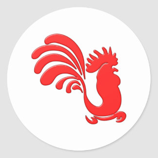 red cock talk more rooster round sticker