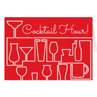 Red cocktail party card