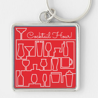 Red cocktail party key ring