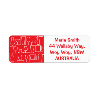 Red cocktail party return address label