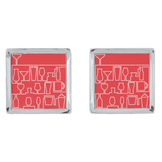Red cocktail party silver finish cufflinks
