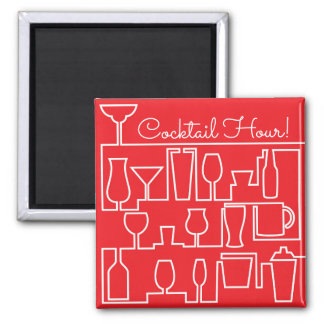 Red cocktail party square magnet