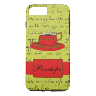 Red Coffee Cup Lime Green Script Words Name iPhone 7 Plus Case