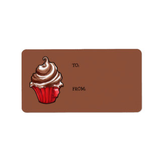 Red Coffee Cupcake coffee Gift Tag Address Label