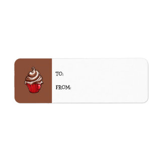 Red Coffee Cupcake coffee small Gift Tag Return Address Label