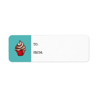 Red Coffee Cupcake teal small Gift Tag Return Address Label