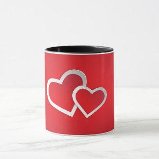 Red Coffee Mug White 3D Hearts