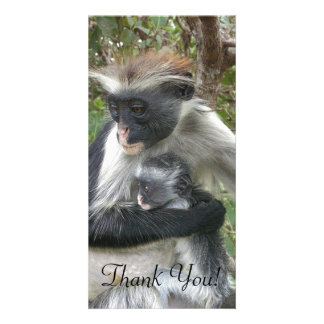 Red Colobus With Wild Hair Clings To Cute Baby Personalized Photo Card