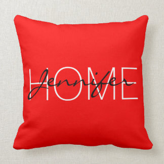 Red color home monogram throw pillow