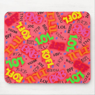 Red Colorful Electronic Texting Art Abbreviation Mousepads