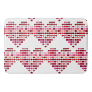 Red Colour Palette, heart shaped red swatches Bath Mat