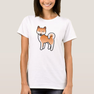 Red Colour Shiba Inu Dog Cartoon Illustration T-Shirt