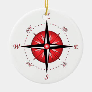 Red Compass Rose Christmas Ornament