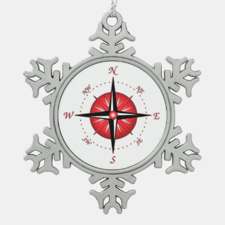 Red Compass Rose Pewter Snowflake Decoration