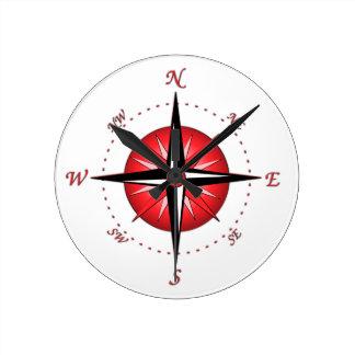 Red Compass Rose Wallclock