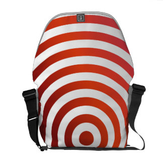 Red concentric circles messenger bags