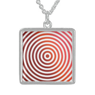 Red concentric circles square pendant necklace