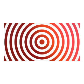 Red concentric circles personalized photo card