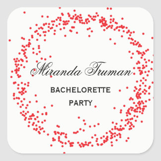 Red Confetti Bachelorette Party - Square Sticker