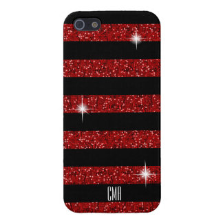 Red Confetti Glitter & Black Stripes   Monogram iPhone 5 Case