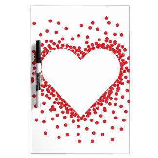 Red Confetti Heart Dry Erase Board