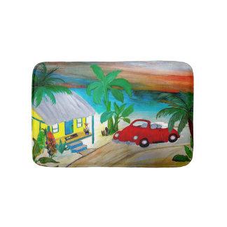 Red convertible beach bug surf hut bathmat