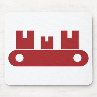 Red Conveyor Belt Shipping Boxes Icon Mouse Pad