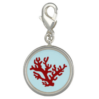 Red Coral Light Blue Charm