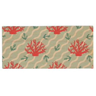 Red Coral Pattern 1 Wood USB 2.0 Flash Drive