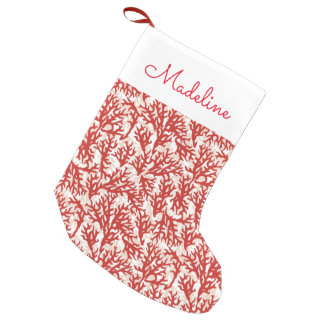 Red Coral Pattern | Add Your Name Small Christmas Stocking