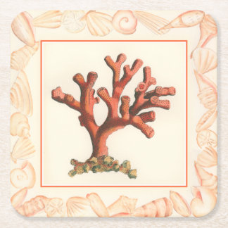 Red Coral with Conch Shell Border Square Paper Coaster