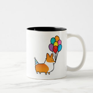 Red Corgi Birthday Balloons Mug | CorgiThings