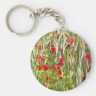 Red Corn Poppies Key Ring