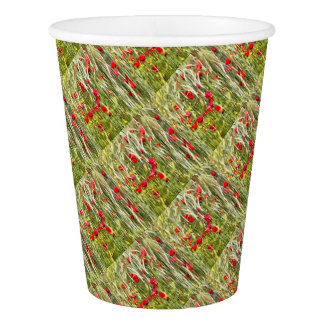 Red Corn Poppies Paper Cup