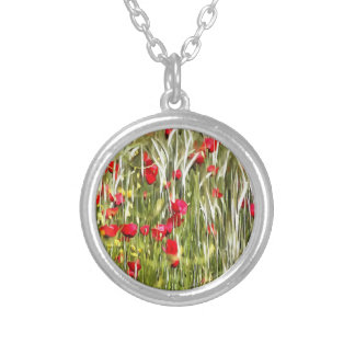 Red Corn Poppies Silver Plated Necklace