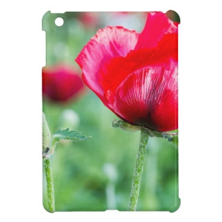 Red corn poppy with flower bud case for the iPad mini