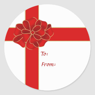 Red Corner Bow Gift Sticker