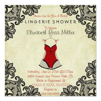 "Red Corset & Black Lace Lingerie Bridal Shower 5.25"" Square Invitation Card"