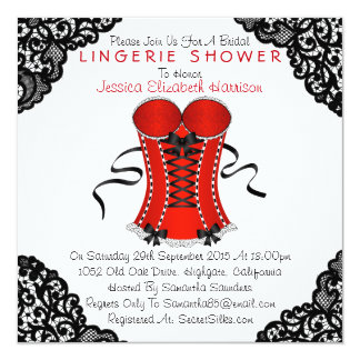 Red Corset & Black Lace Lingerie Shower 13 Cm X 13 Cm Square Invitation Card