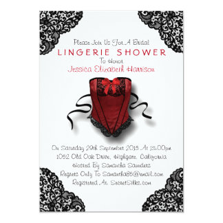 Red Corset & Black Lace Lingerie Shower Card