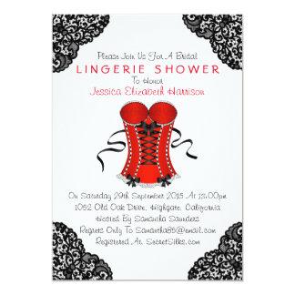 Red Corset & Black Lace Lingerie Shower 5x7 Paper Invitation Card