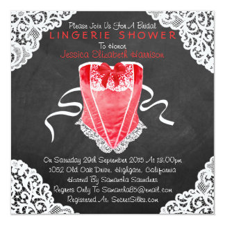 "Red Corset White Lace Chalkboard Lingerie Shower 5.25"" Square Invitation Card"