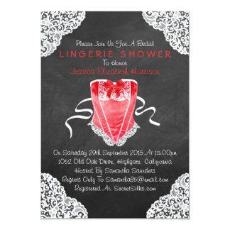 """Red Corset White Lace Chalkboard Lingerie Shower 5"""" X 7"""" Invitation Card"""